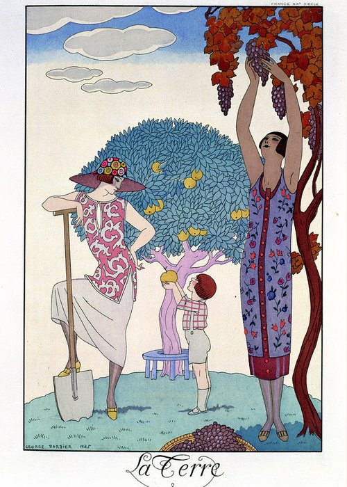 Print Greeting Card featuring the painting The Earth by Georges Barbier
