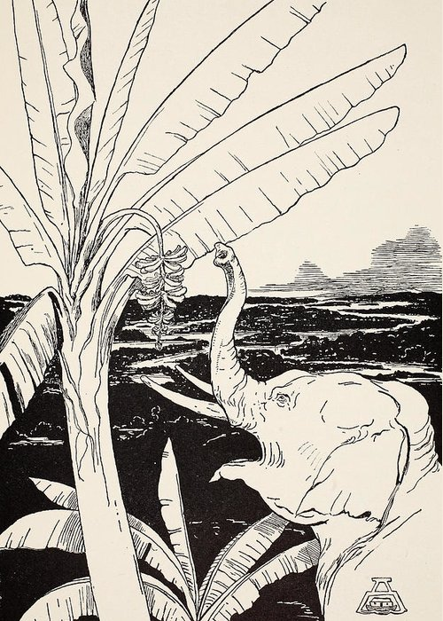 Fruit Greeting Card featuring the drawing The Elephant's Child Going To Pull Bananas Off A Banana-tree by Joseph Rudyard Kipling
