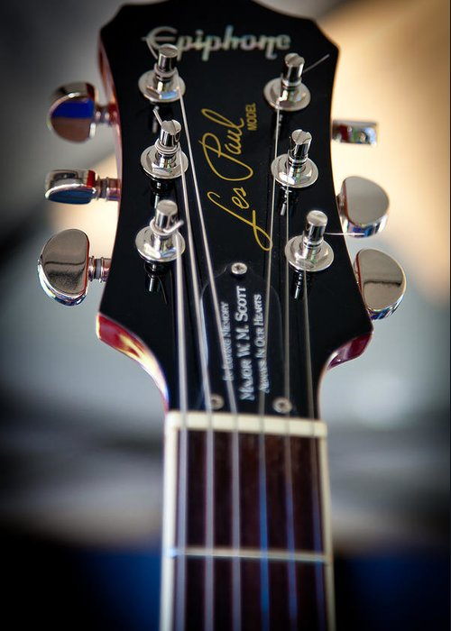 The Epiphone Les Paul Guitars Greeting Card featuring the photograph The Epiphone Les Paul Guitar by David Patterson