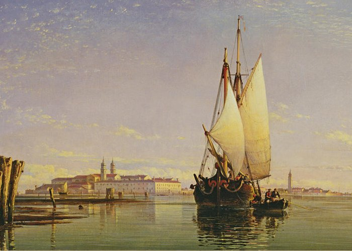 Lagoon Greeting Card featuring the painting The Euganean Hills And The Laguna Of Venice - Trabaccola Waiting For The Tide Sunset by Edward William Cooke