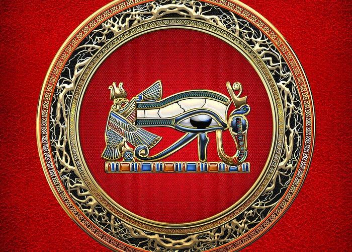 C7 Treasure Trove 3d Greeting Card featuring the digital art The Eye Of Horus by Serge Averbukh