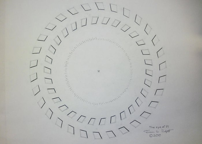 Pi Greeting Card featuring the drawing The Eye Of Pi by Jason Padgett