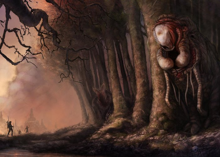 Woman Greeting Card featuring the painting The Fabled Giant Women Of The Woods by Ethan Harris
