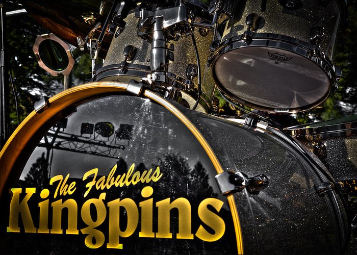 The Kingpins Greeting Card featuring the photograph The Fabulous Kingpins Drums by David Patterson