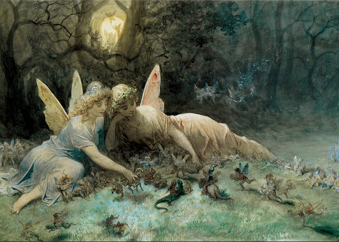 The Fairies From William Shakespeare Scene Greeting Card featuring the digital art The Fairies From William Shakespeare Scene by Gustave Dore