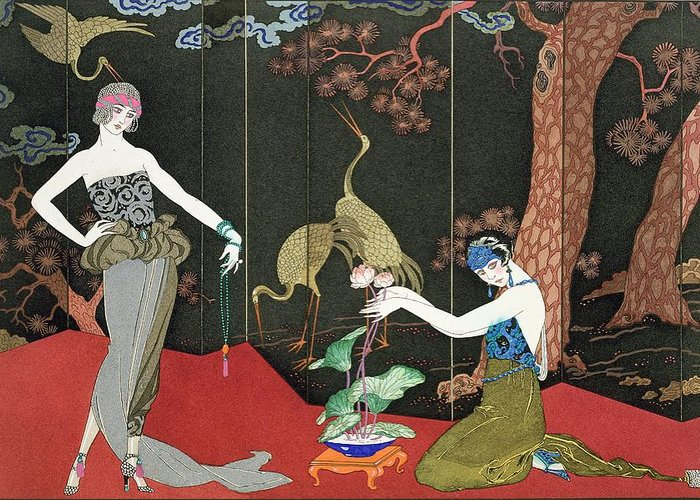 Print Greeting Card featuring the painting The Fashion For Lacquer by Georges Barbier
