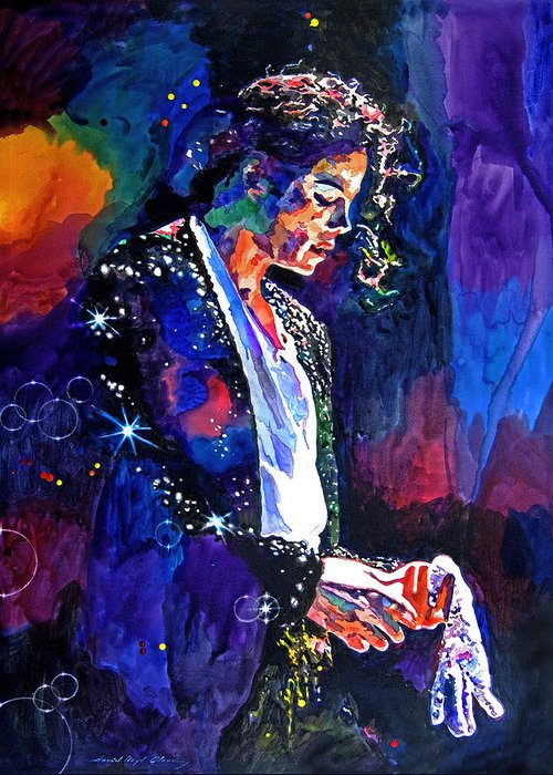 Michael Jackson Greeting Card featuring the painting The Final Performance - Michael Jackson by David Lloyd Glover