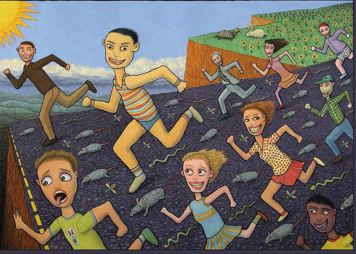 Running Greeting Card featuring the painting The Finish Line by James W Johnson