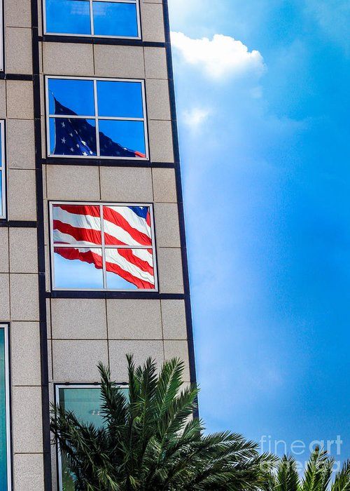 American Flag Greeting Card featuring the photograph The Flag That Never Hides by Rene Triay Photography