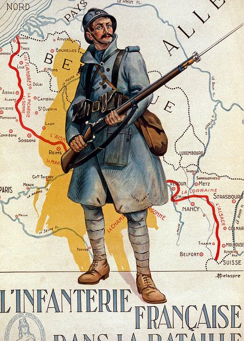 1910s Greeting Card featuring the painting The French Infantry In The Battle by H Delaspre