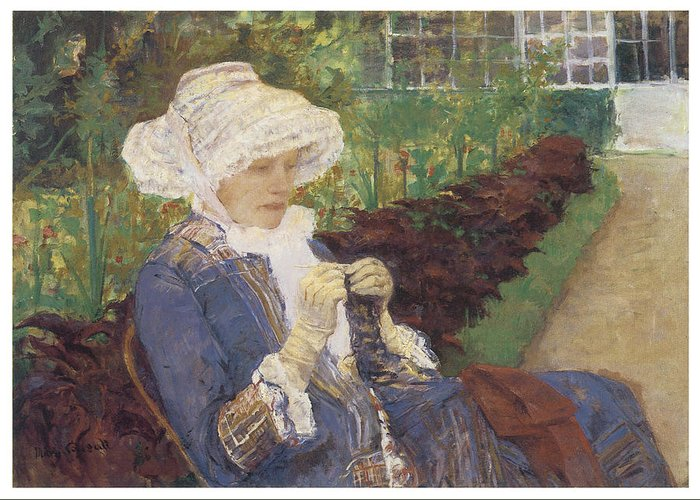 Mary Cassatt Greeting Card featuring the painting The Garden by Mary Cassatt