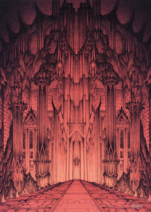 Barad Dur Greeting Card featuring the mixed media The Gates Of Barad Dur by Curtiss Shaffer