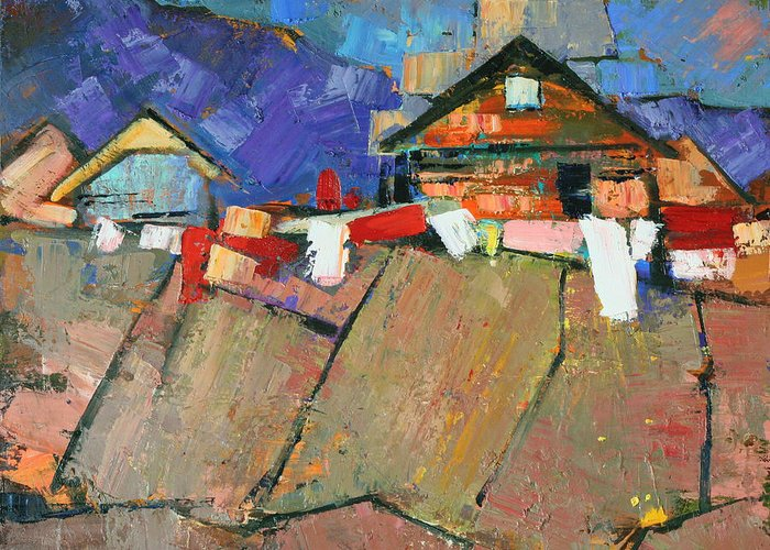 The Geometry Of The Carpathians. Oil On Canvas Greeting Card featuring the painting The Geometry Of The Carpathians by Anastasija Kraineva