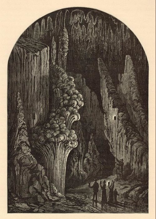 Geyser Greeting Card featuring the painting The Geyser 1872 Engraving by Antique Engravings