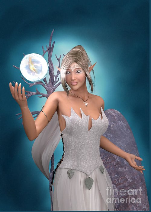 Elf Greeting Card featuring the digital art The Gift by Elle Arden Walby