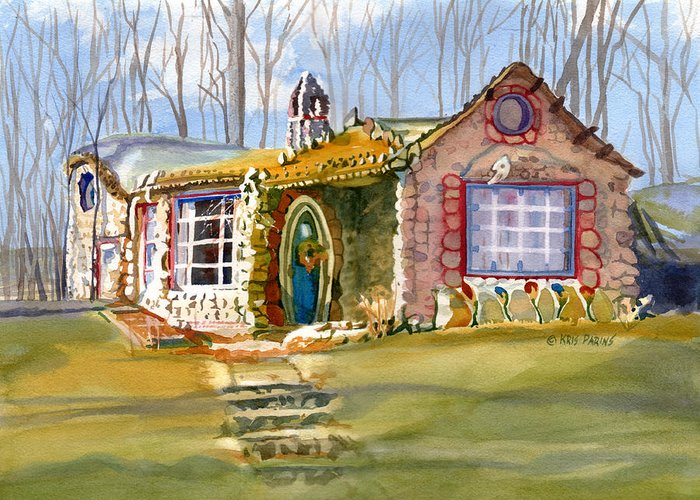 Kris Parins Greeting Card featuring the painting The Gingerbread House by Kris Parins