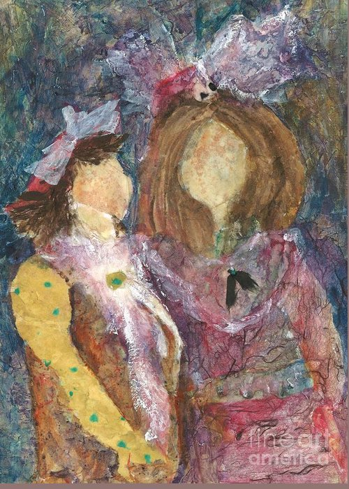 Girls Greeting Card featuring the painting the Girls by Sherry Harradence