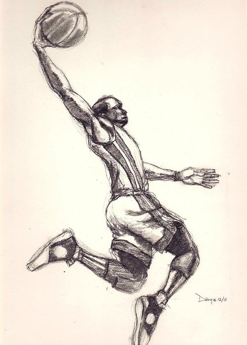 Dwayne Greeting Card featuring the drawing The Gladiator 2 by Dallas Roquemore