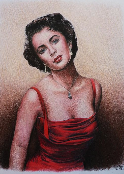 Elizabeth Taylor Greeting Card featuring the drawing The Glamour Days Elizabeth Taylor by Andrew Read