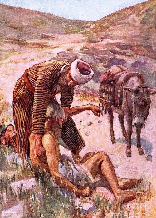 The Good Samaritan Greeting Card featuring the painting The Good Samaritan by Harold Copping