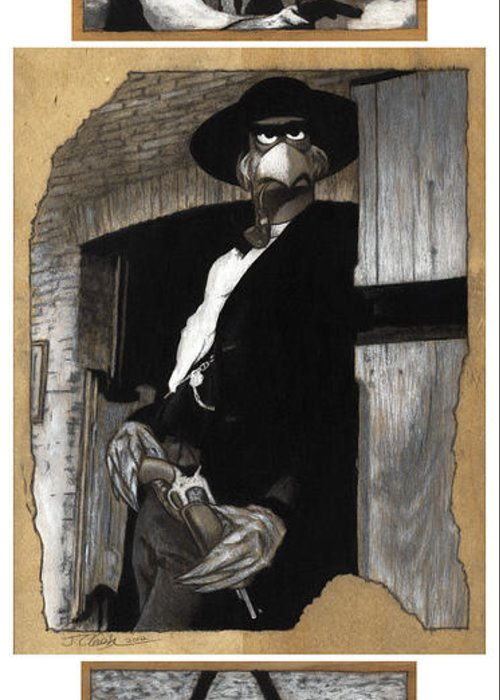 Clint Eastwood Greeting Card featuring the drawing The Good The Bad And The Grouchy by Justin Clark