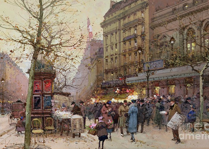 Street Greeting Card featuring the painting The Great Boulevards by Eugene Galien-Laloue