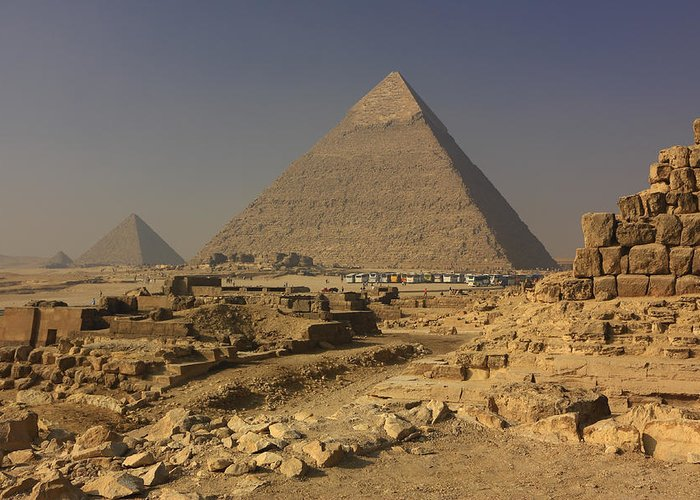 Africa Greeting Card featuring the photograph The Great Pyramids Of Giza Egypt by Ivan Pendjakov