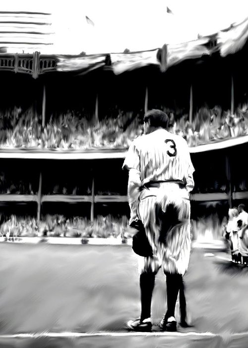 Babe Ruth Greeting Card featuring the painting The Greatest Of All Babe Ruth by Iconic Images Art Gallery David Pucciarelli