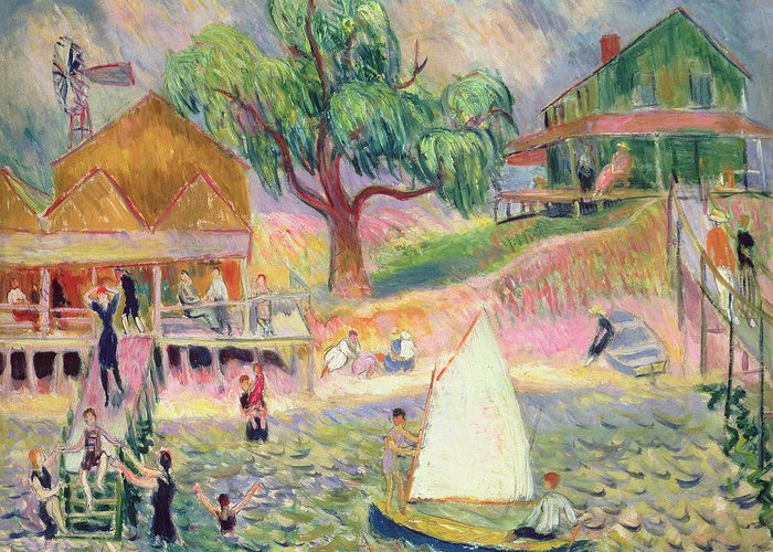 New England; East Coast; American; Bathing; Sailing; Leisure; New York State; Great South Bay; Atlantic Ocean; Ashcan School; Vacation; Holiday; Summer; Fun; The Eight; William; James; Glackens; William James; William James Glackens; Green Beach Cottage; Cottage; Home; Vacation Home; Belport; Long Island; Summer Fun; Relaxing; Relax; Summer Activities; Picnic; Swimmin; Swim; Play; Playing; Playtime; Oil Paint; Oil Painting; Weeping Willow; Tree; Trees; Breeze; Summer Breeze; Boat; Sailboat; Dock Greeting Card featuring the painting The Green Beach Cottage by William James Glackens