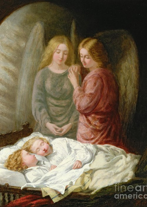 Sleeping Children; Benediction; Twins Greeting Card featuring the painting The Guardian Angels by Joshua Hargrave Sams Mann