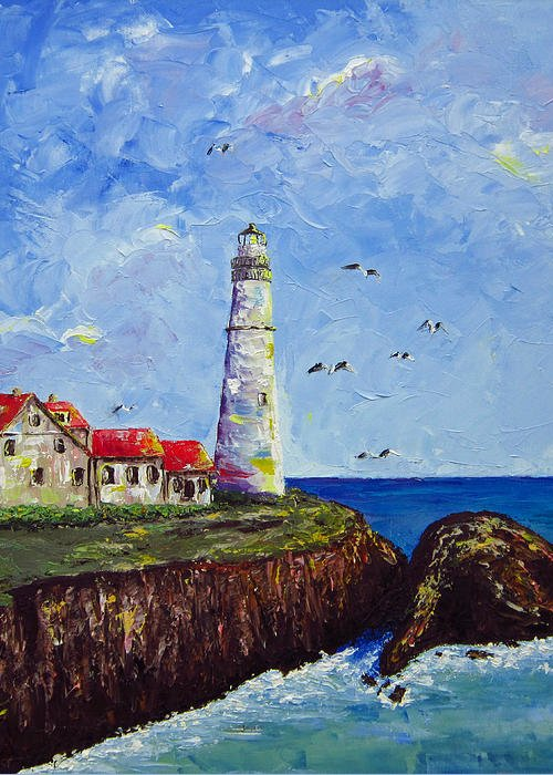 Lighthouse Greeting Card featuring the painting The Guardian by Dottie Kinn