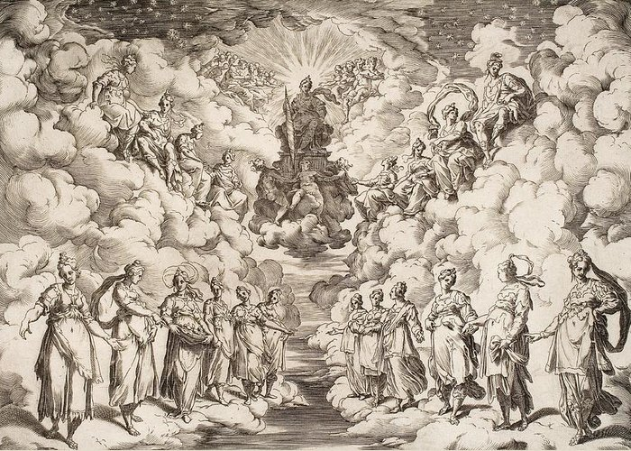 Harmony Of The Spheres Greeting Card featuring the drawing The Harmony Of The Spheres by Agostino Carracci