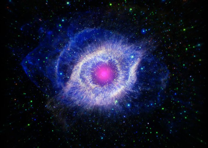 Helix Nebula Greeting Card featuring the photograph The Helix Nebula by The Vault - Jennifer Rondinelli Reilly