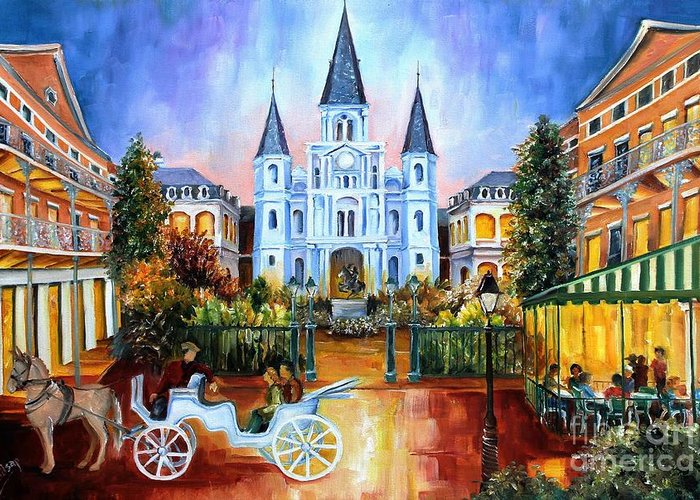 New Orleans Greeting Card featuring the painting The Hours On Jackson Square by Diane Millsap