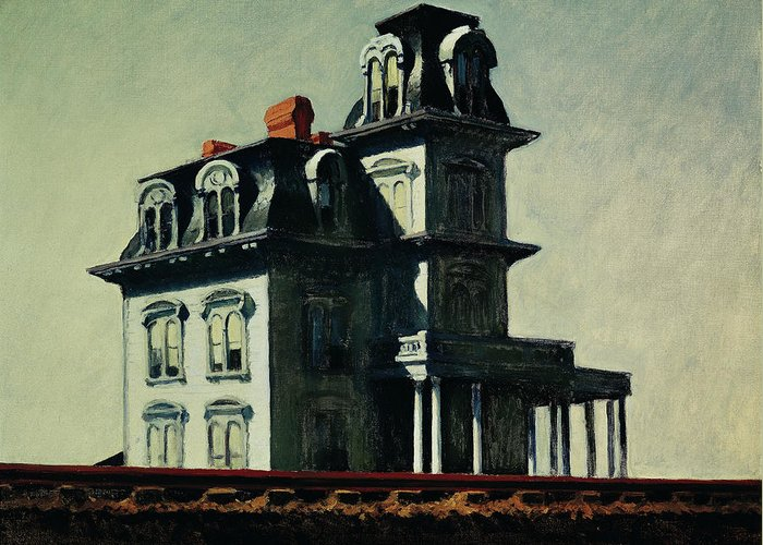 Eerie Greeting Card featuring the painting The House By The Railroad by Edward Hopper