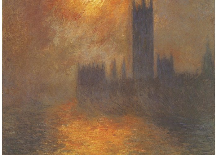 The Houses Of Parliament Sunset Greeting Card featuring the painting The Houses Of Parliament Sunset by Claude Monet