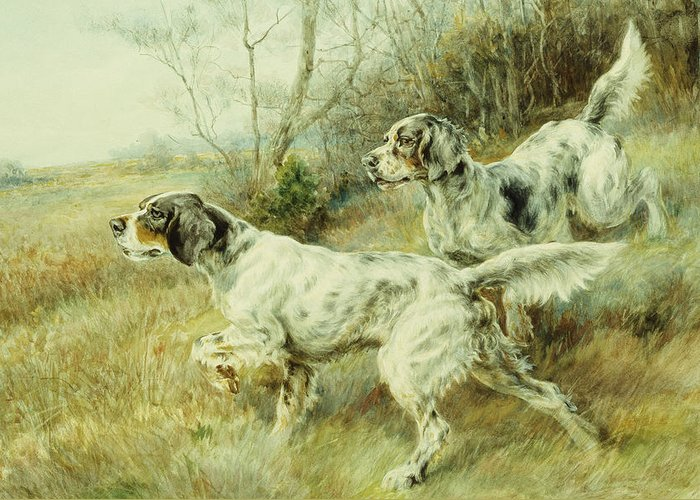 Alert Greeting Card featuring the painting The Hunt by Edmund Henry Osthaus