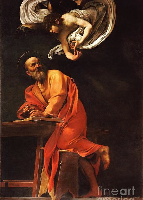 1596 Paintings Greeting Card featuring the painting The Inspiration Of Saint Matthew by Pg Reproductions