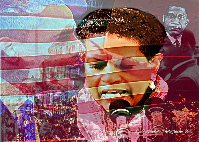 Barack Obama Greeting Card featuring the digital art The Invocation by Lynda Payton