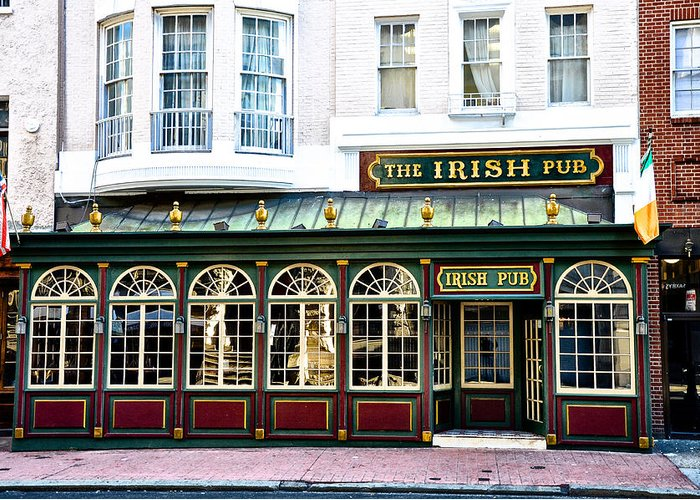 Irish Greeting Card featuring the photograph The Irish Pub - Philadelphia by Bill Cannon