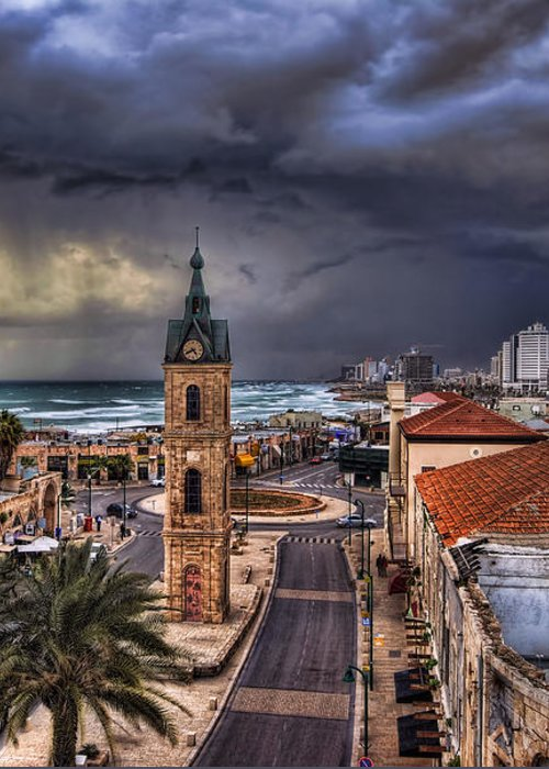 Clock Tower Greeting Card featuring the photograph the Jaffa old clock tower by Ronsho