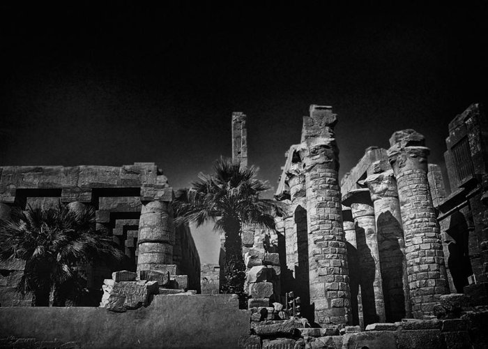 Africa Greeting Card featuring the photograph The Karnak Temple Bw by Erik Brede