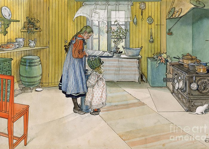 Swedish Interior; Panelled; Panelling; Wall; Cooker; Stove; Aga; Sisters; Sister; Child; Girl; Children; Bonnet; Domestic; Churning Butter; Pinafore; Barrel; Kitten Greeting Card featuring the painting The Kitchen From A Home Series by Carl Larsson
