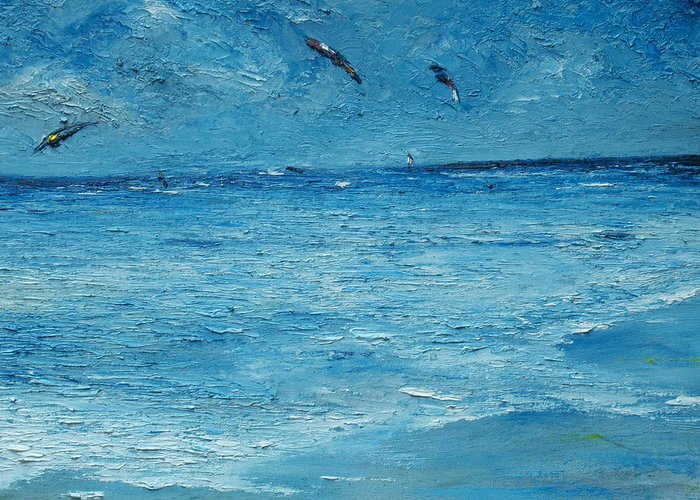 Kite Surf Greeting Card featuring the painting The Kite Surfers by Conor Murphy