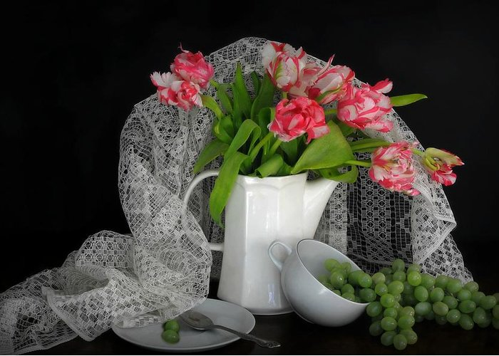 Still Life Greeting Card featuring the photograph The Lace Veil by Diana Angstadt