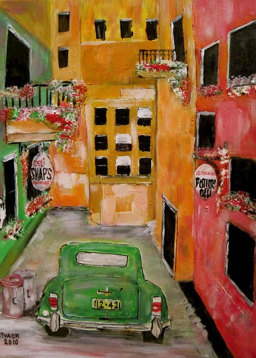 Chrysle Greeting Card featuring the painting The Laneway Mixed Signals by Michael Litvack