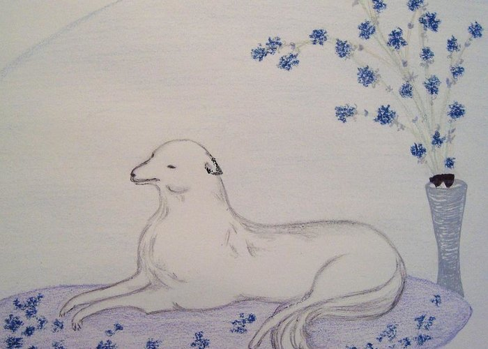 Dog Greeting Card featuring the drawing The Lap Of Luxury by Christine Corretti