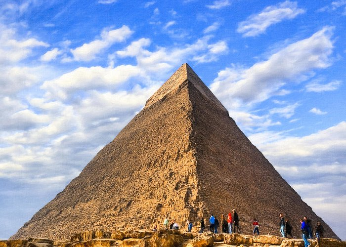 Egyptian Pyramids Greeting Card featuring the photograph The Last Ancient Wonder - Egyptian Pyramid by Mark E Tisdale