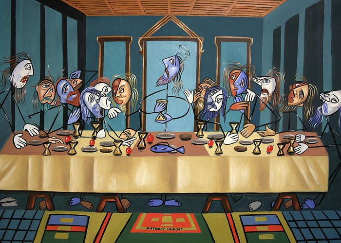 The Last Supper Greeting Card featuring the painting The Last Supper by Anthony Falbo
