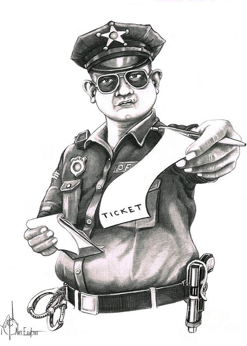Pencil Greeting Card featuring the drawing The Law by Murphy Elliott